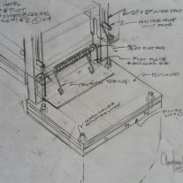 Custom drop hinge sketch for ceiling access